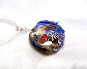 lampwork bead, sea urchin jewelry, jelly fish jewelry, seascape necklace, reef bead, ocean scene necklace, anemone pendant, sea life pendant
