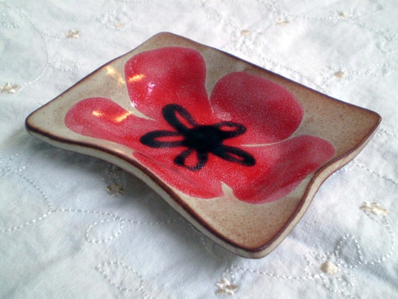 Red Flower Pottery Dishes, Serving Plate, Spoon Rest, Candle Holder, Soap Dish, Jewlery Holder, Handmade