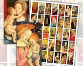 Madonna and Child Domino Digital Collage sheet for jewelry pendants decoupage 1x2 inch