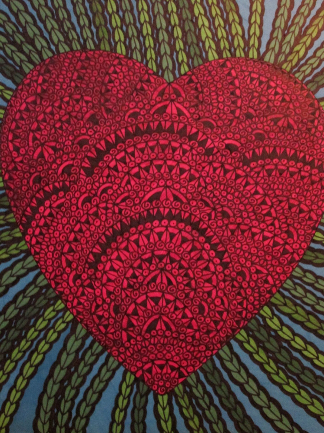Drawing Red Lines With Green Ink : Original pen and ink drawing red heart green vines