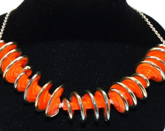 Necklace: Orange Spiral Necklace - Lampwork Jewelry - Glass Bead Jewelry - Elegant Jewelry - Beadwork Jewelry - Chic Jewelry