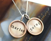 Two 11/16 Inch Two-tone Custom Distressed Pendants with Necklace - Sterling Disc with Gold Filled Rim