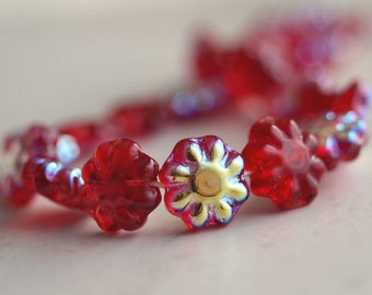 Siam Ruby AB Czech Glass Bead 9mm Daisy Disc Flower :  25 pc Red Flower Bead