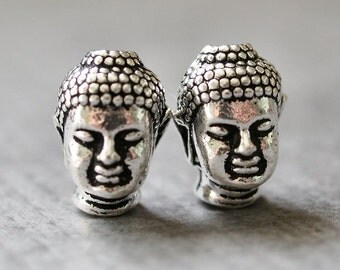 TierraCast Pewter 13mm Buddha Charm Antique Silver : 2 pc