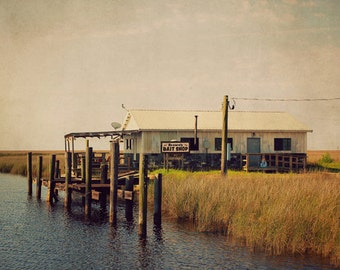 Brown's Bait Shop, Gulf Coast Fishing Photo, Dock Photo, Bayou Photo, Vintage Style Photo, Mississippi Coast Photo, Rustic Wall Art