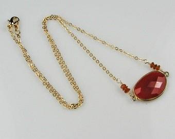 Carnelian Bezel with Gold Necklace Orange