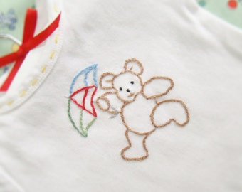 Brown Bear On A Windy Day - Hand Embroidered Onesie - Vintage Style for Boy or Girl