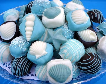 Cake Balls: Beach Themed Cakes. Bitty Bites. Weddings. party favors. Beach lovers. Seashells. Birthday gift. cake pop. hostess gift.