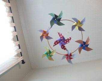Rainbow Baby Crib Mobile / Pinwheel Mobile / Waldorf / Nursery Decor / Red, Orange, Yellow, Green, Blue, Indigo, Violet : Roy G. Biv