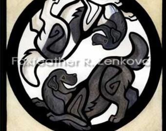 Yin Yang Newfoundland Dog Art Painting Print - Wall art, Giclee, totem, yin-yang, breed, dog, breed, Landseer, newfie