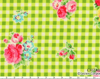 New Flower Sugar Fabric - From Lecien  - Green Floral Gingham - 9.95 For 1 Yard
