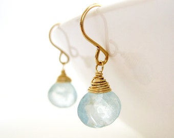 Genuine Aquamarine Earrings - March birthstone, blue gemstone drop wire wrapped in gold, silver or bronze, bridesmaid gift