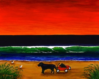 Black Lab Dog folk art print by Todd Young painting Black Labs at Sunset Beach