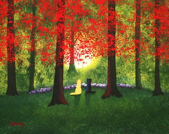 Black Yellow Lab  Folk art print by Todd Young painting Forest Light