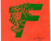 Frog F Monogram Linocut - Alphabet Letters with Animals Typographical Lino Block Print - F is for Frog