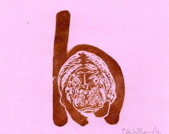 Hippopotamus H Monogram Linocut - Alphabet Typographic Lino Block Print with Animal, H is for Hippo Hippopotamus, Nursery Art