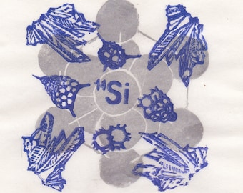 Silicon Linocut with Crystal, Quartz and Radiolarians - Periodic Table Lino Block Print Chemical Element Silicon Quartz Crystal Radiolaria