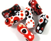 Lampwork beads. Lampwork beads set. bone beads, black, white, red (6) SRA - gaialai