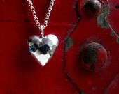 Valentine necklace, heart necklace, Valentine gift for her, puffy heart pendant, gift for girlfriend, gift for wife, sterling silver heart
