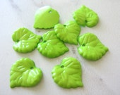 Green Opaque Plastic Beads 16mm Leaves Acrylic Beech Leaf 20pcs