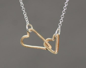 Double Sideways Heart Necklace in 14k Gold and Sterling Silver