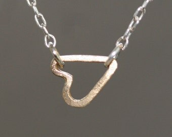 Tiny Sideways Heart Necklace in 14k Gold and Sterling Silver