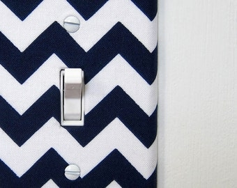 Light Switch Plate Cover - Navy Blue Chevron