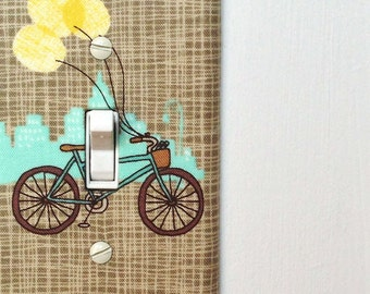 Light Switch Plate Cover - brown, tan with bike, bicycle yellow balloons and cityscape