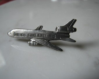 Vintage Medical Strike Force Tie Tack Airplane Silver Plane DC-10
