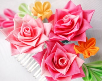 Hand Dyed Silk Pink Rose Kanzashi Flower Comb