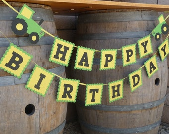 Tractor Birthday Party Banner - Green and Yellow Tractor Farm Garland - Barn Bash Happy Birthday Decorations - Tractor Party for Boy or Girl
