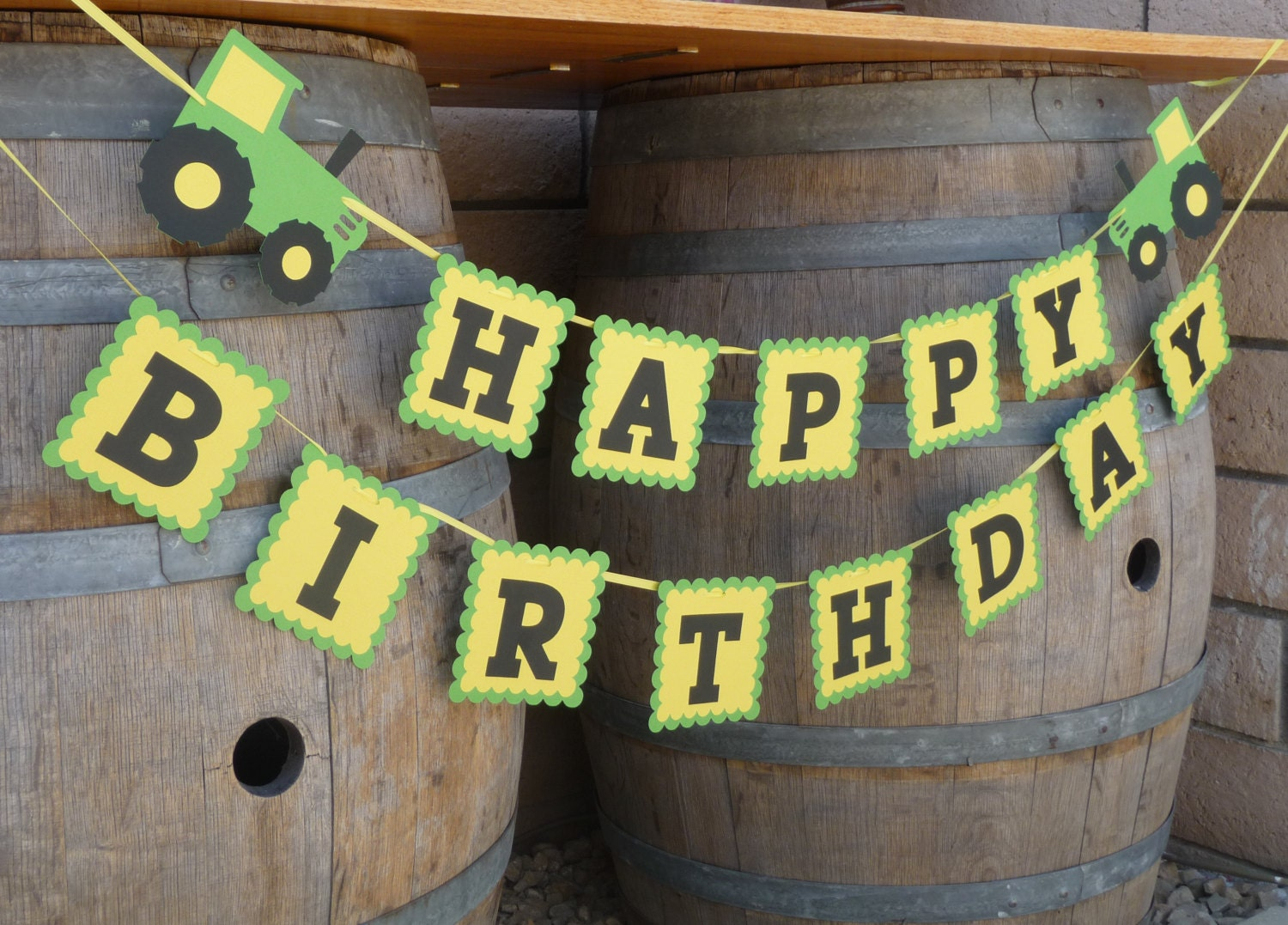 Tractor Birthday Party Banner Green And Yellow Tractor Farm