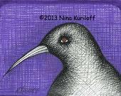 ORIGINAL Fine Art Drawing of Black Crow Purple Bird artwork wall Art Decor