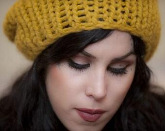 Yellow hat/ yellow knit hat / Mustard Yellow beanie hand knit hat / mustard yellow sloucht hat  /Yellow Chunkier knit hat