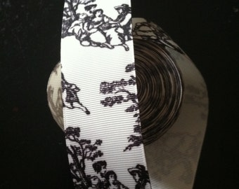 1.5 Yards - Toile - black on white Grosgrain Ribbon 1.25 inch