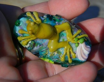 Handmade lampwork glass focal bead.  Frog Fantasy-Large focal-Handmade lampwork beads