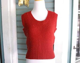 Vintage Burnt orange knitted vest. size M