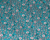 Vintage Fabric - Floral Print  - Greenish Blue with White Daisy Design - One Yard  - Cotton
