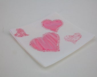 Pink and white iridescent heart plate  6.5 x 6.5