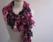 "purples pinks boa,  crocheted scarf, purple long scarf, pink long scarf,  silky long scarf,  long ribbon scarf, long loopy scarf ""carnevale"""