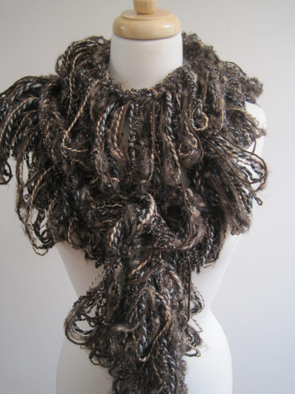 browns crocheted scarf boa mixed fibers warm