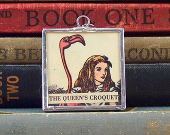 Alice in Wonderland Charm- Soldered Pendant - Pink Flamingo Crouqet w/ Vintage Tenniel Illustration - Literary Book Lover - Lewis Carroll