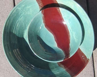 Bowl Set in Red and Robin Glaze - Large Handmade Pottery