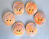 6 Handmade Ceramic Buttons - Owl Buttons in Autumn Orange - Rustic Stoneware Buttons by Beadfreaky