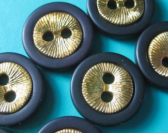 Vintage buttons black plastic with gold metal disc x 6 YC131