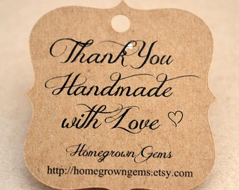 Thank You Handmade with Love Custom Tags Hang Tag Party Favor Kraft Recycled