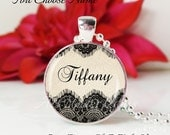 SALE-Round Medium Glass Bubble Pendant Necklace- Black lace Custom Name- You Choose