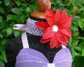 Red Purple Girls Headband Photo Prop - Red Lily w/ Rhinestone Center on Lavender Headband - Flower Headband to Match Ariel Tutu