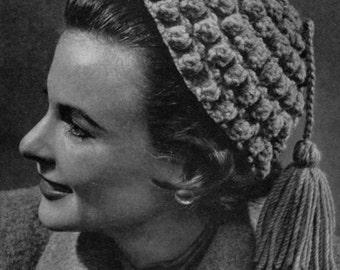 Tasselled Beauty - Vintage 40s 50s Crocheted Hat Pattern - PDF eBook