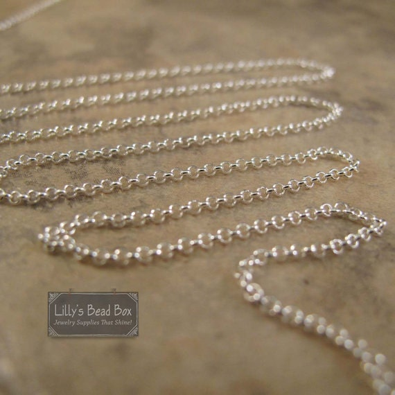 Sterling Silver Rolo Chain, By The Foot, Thin .925 Silver Chain for Making Jewelry, Everyday Necklace Chain (970i-s)